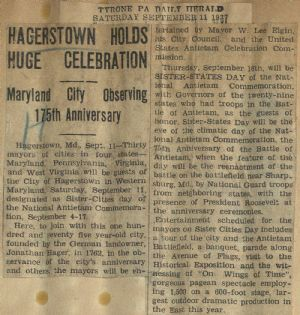 175th anniversary of Hagerstown and Historical Exposition.