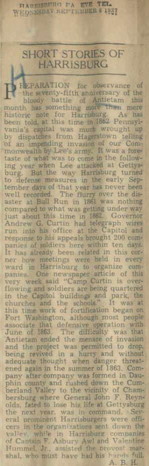 Harrisburg PA's response to Antietam.