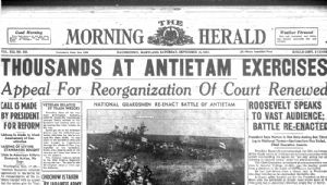 Headlines of Morning Herald after the re-enactment