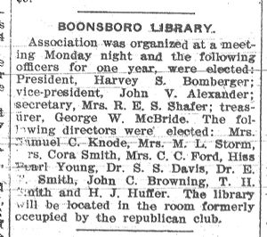 Boonsboro Library Association 1904