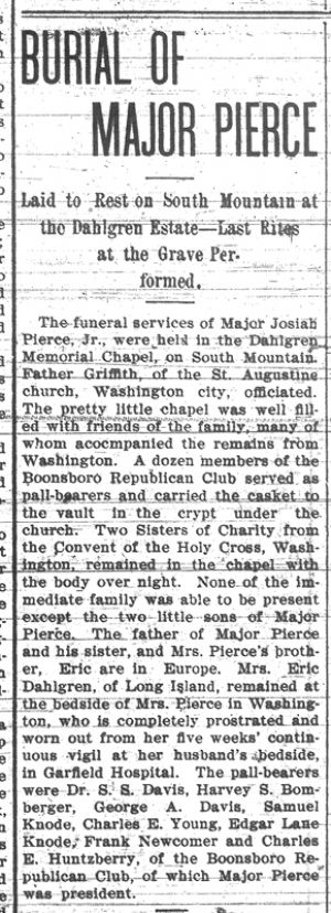 Major Pierce's death, 1902