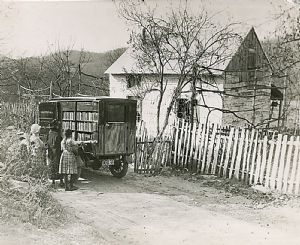 Indian Springs - The library bookmobile visits homes in Washington County, Maryland