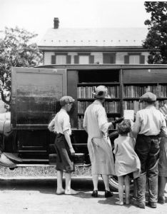 The bookmobile visits homes throughout Washington County, Maryland