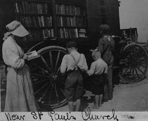 St. Paul's Church. The bookmobile visits homes in Washington County, Maryland.
