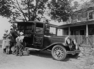 The library bookmobile visits homes in Washington County, Maryland