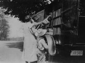 The bookmobile visited homes throughout Washington County, Maryland