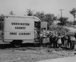 Bookmobiles over the year. Washington County Free Library