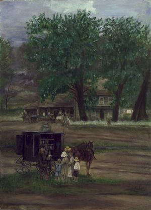 Painting of book wagon - Gertrude Rudy.