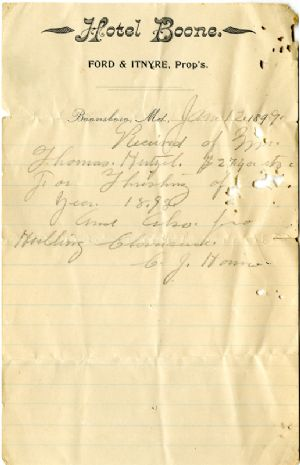 Letter on Boone Hotel letterhead, 1899