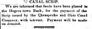 money in Hagerstown Bank.