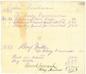 Invoice for work on canal boats.