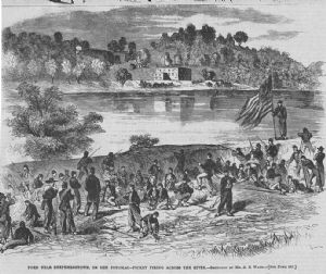 Union troops in empty canal.