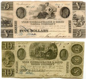Five and ten dollar notes