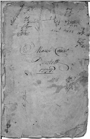 March Court Docket, 1778 - cover