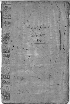 August Court Dockett 1779  Cover Page