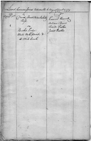 Land Commissions Returnable to August Court 1779