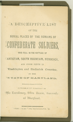 Front. Burial Places of Confederate Soldiers.
