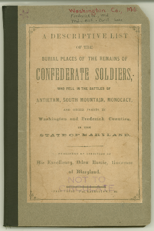 Cover - Burial Places of Confederate Soldiers.