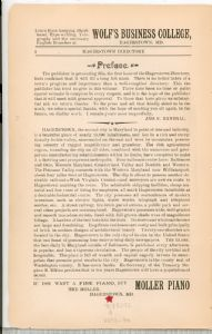 Hagerstown Directory 1893 - Preface