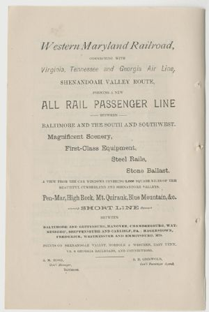 Advertisement - Western Maryland Railroad.