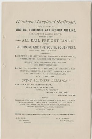 Advertisement - Western Maryland Railroad
