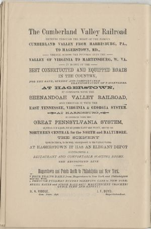 Advertisement - Cumberland Valley Railroad.