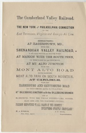 Advertisement: Cumberland Valley Railroad.