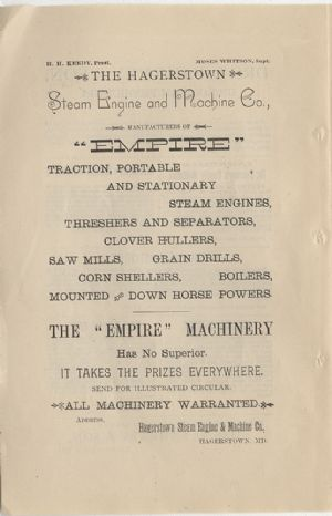 Advertisement - Hagerstown Steam Engine and Machine Co.