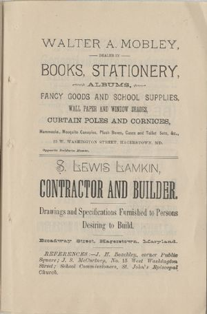 Advertisement - Walter A. Mobely, S. Lewis Lamkin
