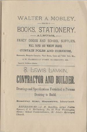 Advertisement - Walter Mobley, Lewis Lamkin.