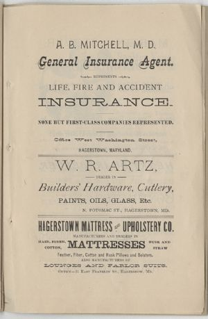 Advertisement - A. B. Mitchell, W. R. Artz, Hagerstown Mattress and Upholstery