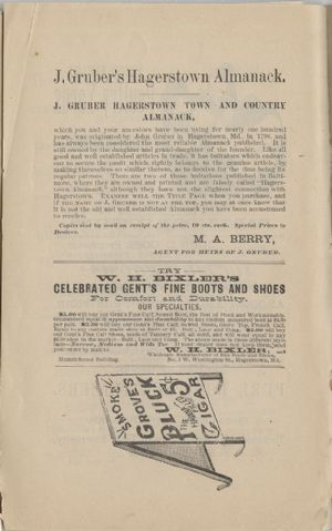 Advertisement - Gruber's Hagerstown Almanack, and W. H. Bixley