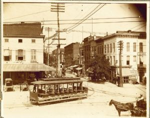 Hagerstown,  the Square, West Washington Street, trolley