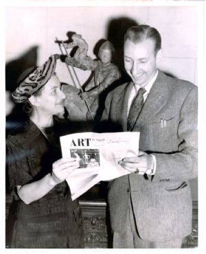Museum director Bruce Etchison and the noted Philadelphia art critic Dorothy Grafly examine the January 1950 edition of Miss Grafly's publication <u>Art in Focus</u>.