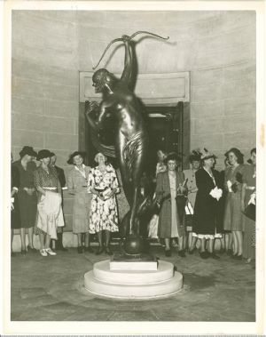 Visitors View Sculpture <i>Diana of the Chase</i> by Anna Hyatt Huntington, a gift to the Museum by the artist in honor of the Museum's 10th anniversary in 1941.