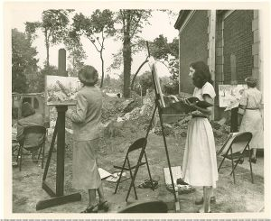 Adult art class working from life at the construction site for the 1949 Museum additions.