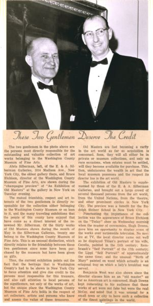 Newspaper article details the role of their friendship in developing the Museum's Old Masters collection.