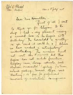 William E. Shepherd, an architect for the Museum's original building, writes to Mavin J. Hamilton, president of the Museum committee, from Norway after meeting with the Singers.
