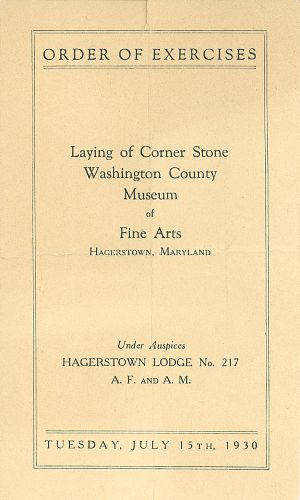 Program for the laying of the cornerstone at the Washington County Museum of Fine Arts.