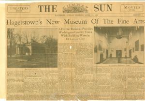 Detailed description of Hagerstown's museum shortly after it opened.