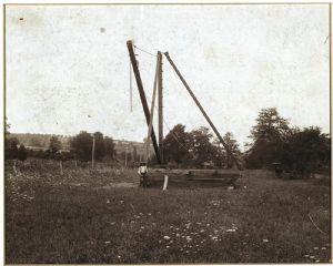 Timbers and crane