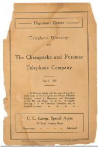 Hagerstown District Telephone Directory of the Chesapeake and Potomac Telephone Company, 1907: Frontispiece