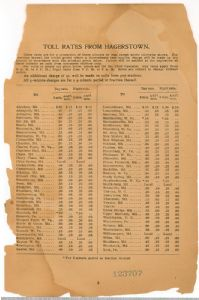 Hagerstown District Telephone Directory of the Chesapeake and Potomac Telephone Company, 1907: Toll rates