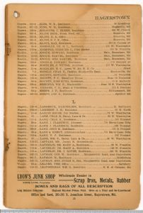 Hagerstown District Telephone Directory of the Chesapeake and Potomac Telephone Company, 1907: Page 21