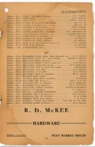 Hagerstown District Telephone Directory of the Chesapeake and Potomac Telephone Company, 1907: Page 23