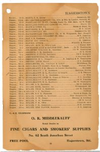 Hagerstown District Telephone Directory of the Chesapeake and Potomac Telephone Company, 1907: Page 25