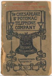 Hagerstown District Telephone Directory of the Chesapeake and Potomac Telephone Company, 1907: Cover